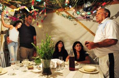 Israeli Family Celebrates the Jewish Holiday Sukkoth