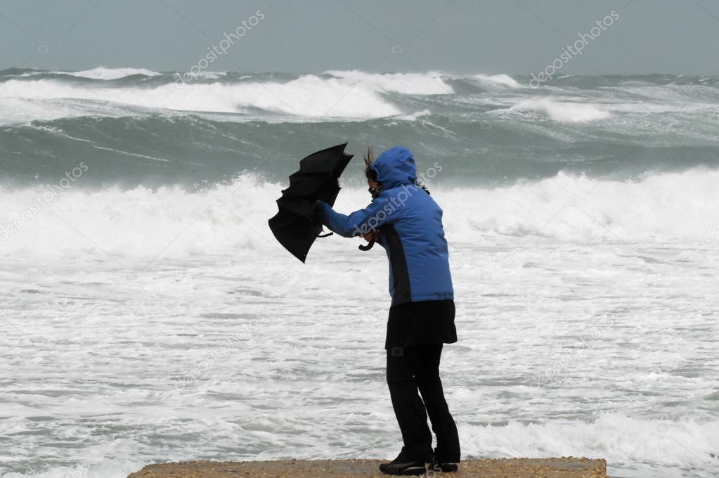 Strong Wind and Rain on Beach