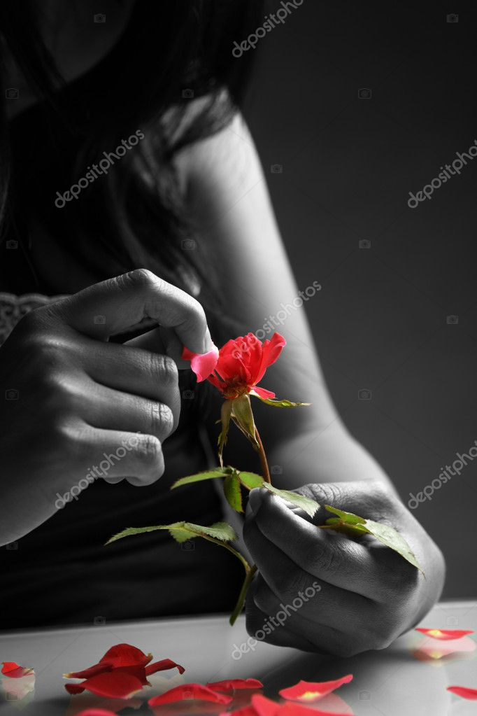 Broken heart girl picking rose petals