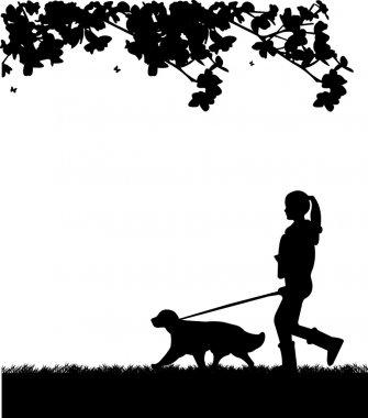 Girl walking a dog in park in spring silhouette layered