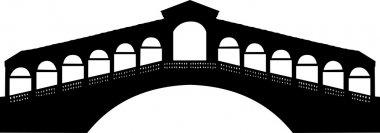 Rialto bridge in Grand canal in Venice, Italy silhouette