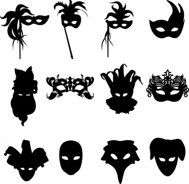 Collection of carnival Venetian masks background silhouette