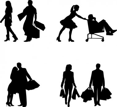 Couple, man and woman in a shopping mall with shopping bags in different poses silhouette