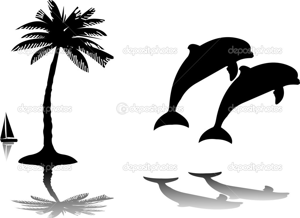 Silhouette of the dolphins jumping through a wave on island next to the palm
