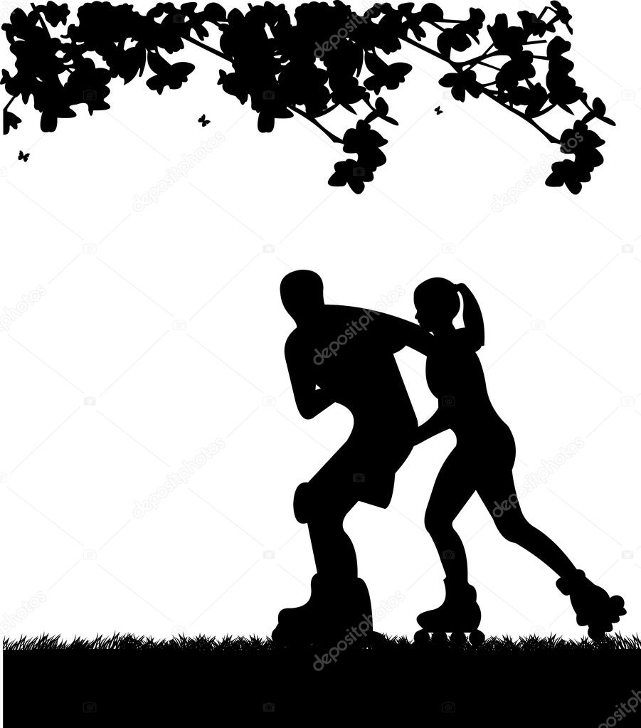 Girl and boy on roller-skates in park