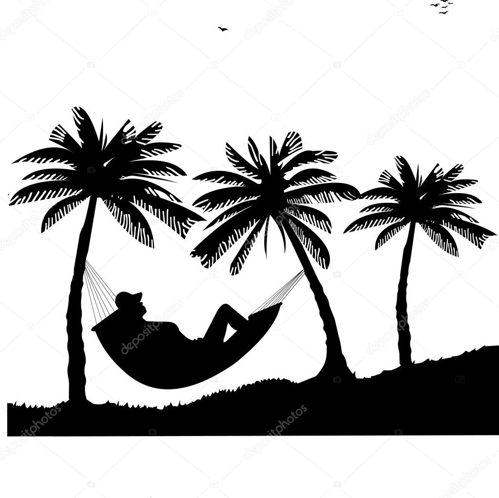 Silhouette of girl sunbathing and relaxing of hammock