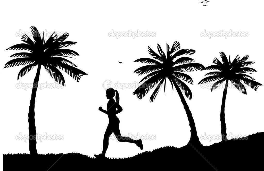 Girl running on seacoast between the palms on the beach in summer silhouette