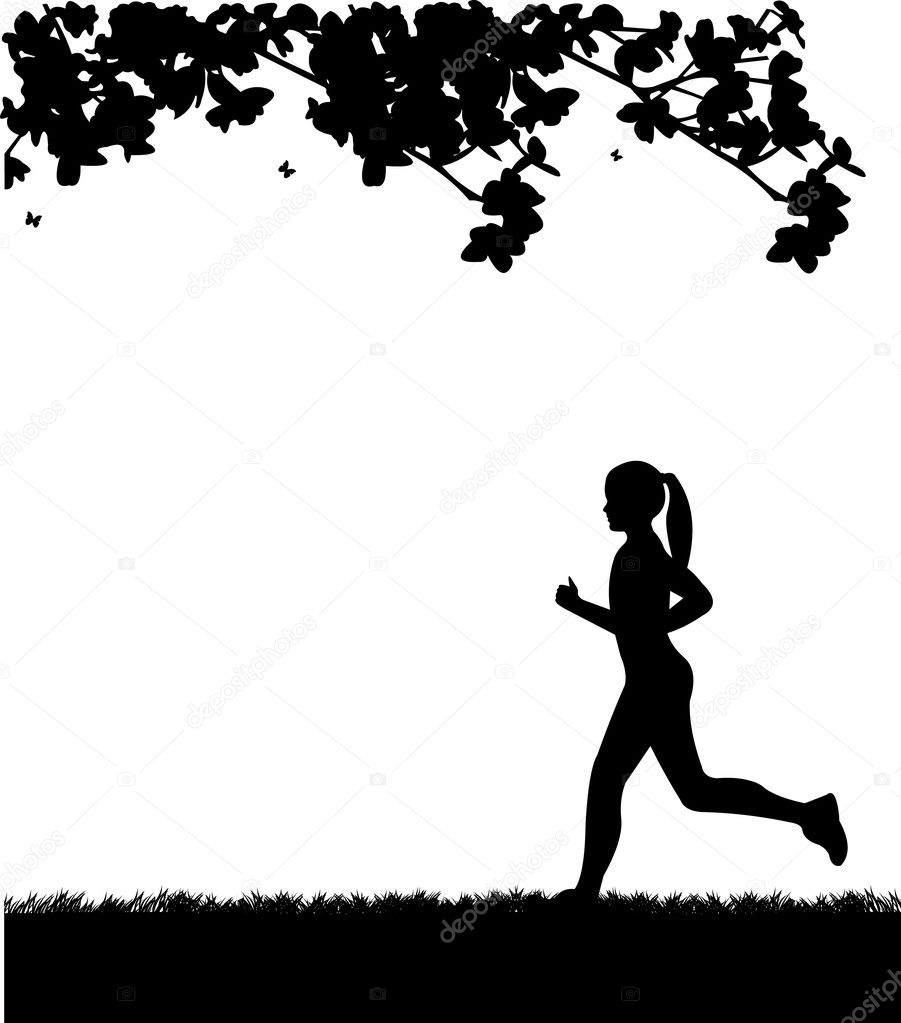 Girl running in park in spring silhouette layered, one in the series of similar images