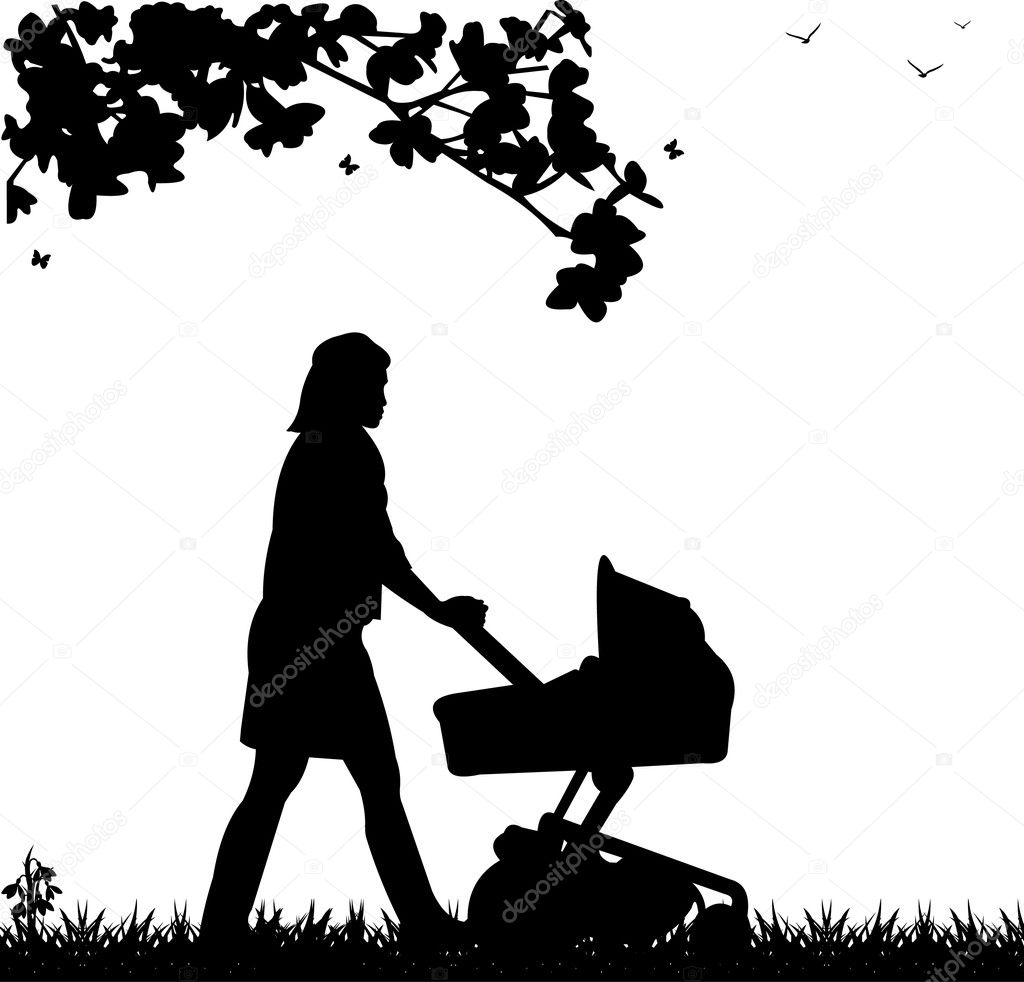A young mother pushing the stroller and walk through the park in spring silhouette