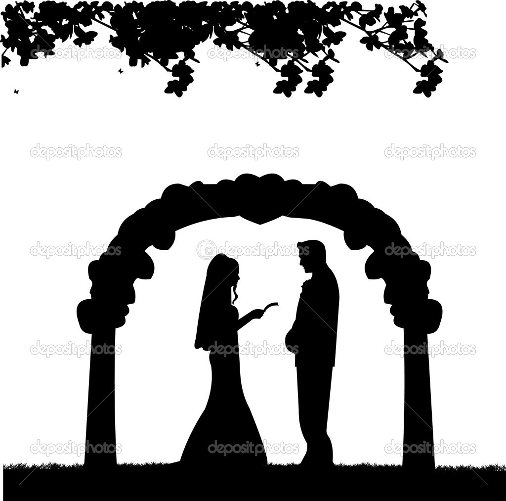 Outdoor Weddings With Wedding Couple Stock Vector