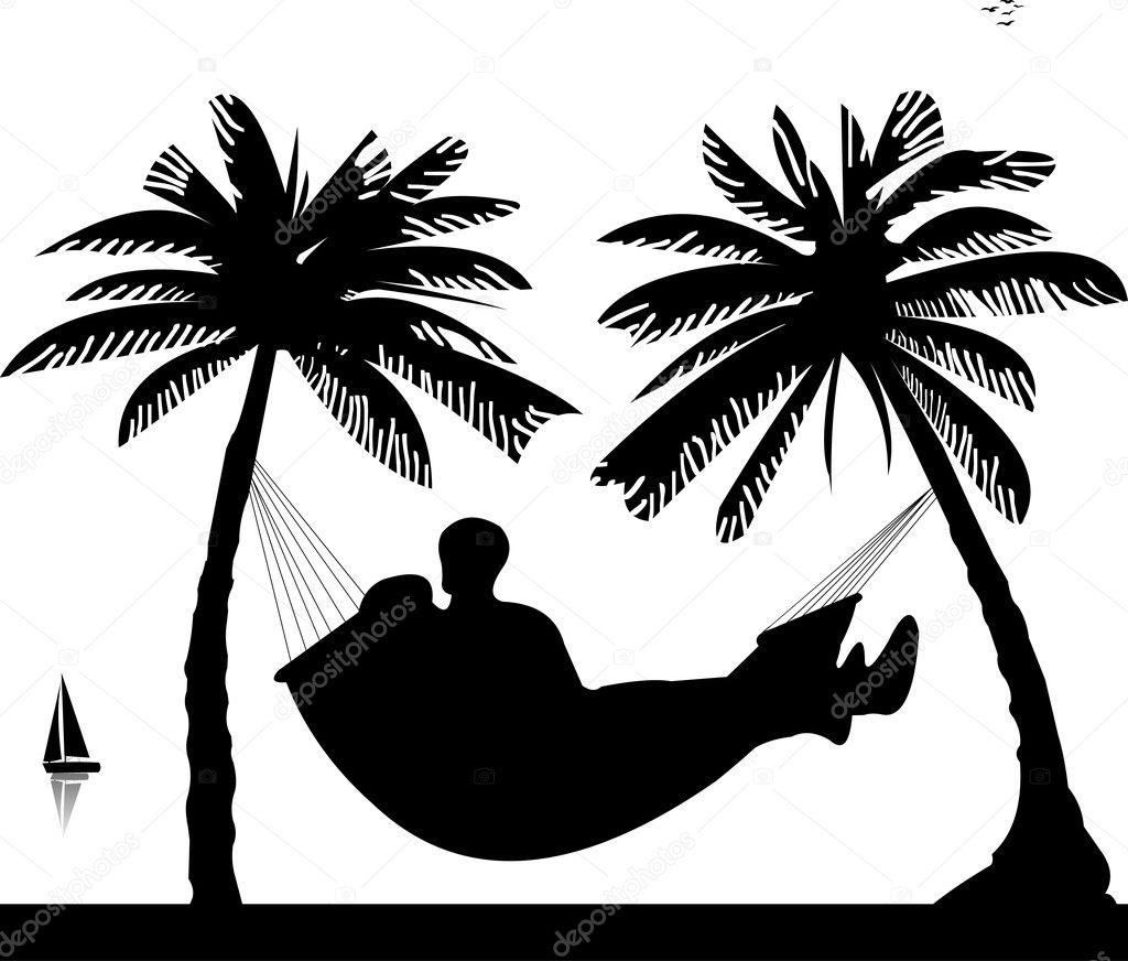 Silhouette of romantic couple sunbathing — Stock Vector ...
