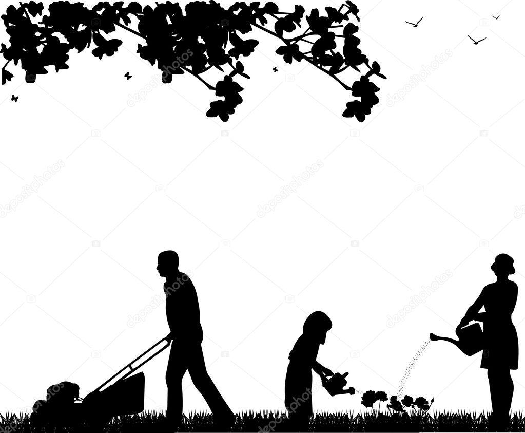 Family activities in garden in spring