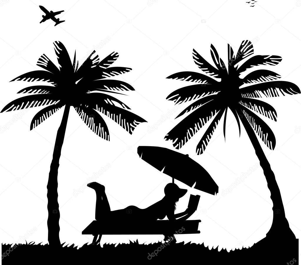 Silhouette Of Girl Sunbathing Stock Vector 169 Tinica