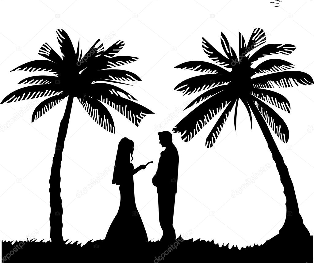 Wedding couple, groom and bride on seacoast between the palms on the beach silhouette