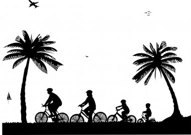 Family bike ride on the beach in summer silhouette, one in the series of similar images