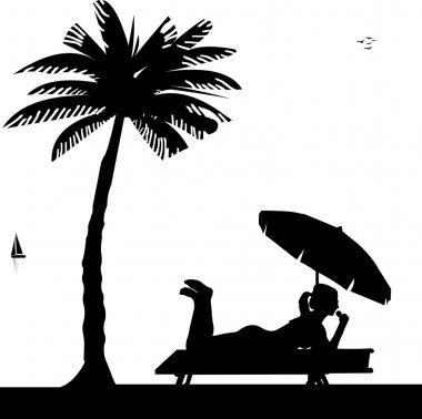 Silhouette of girl with ice cream and sunbathing on the beach under palm tree