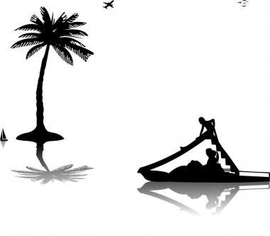 Family on pedal boat with slide in sea near the palm trees silhouette