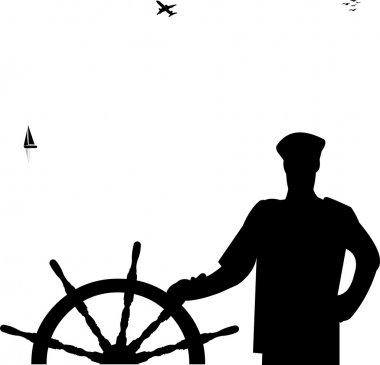 Sailor at the helm the ship at the sea silhouette