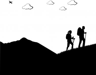Mountain climbing, hiking couple with rucksacks silhouette