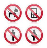 No dogs, No mobile phones, No men, No women warning sign - road sign.