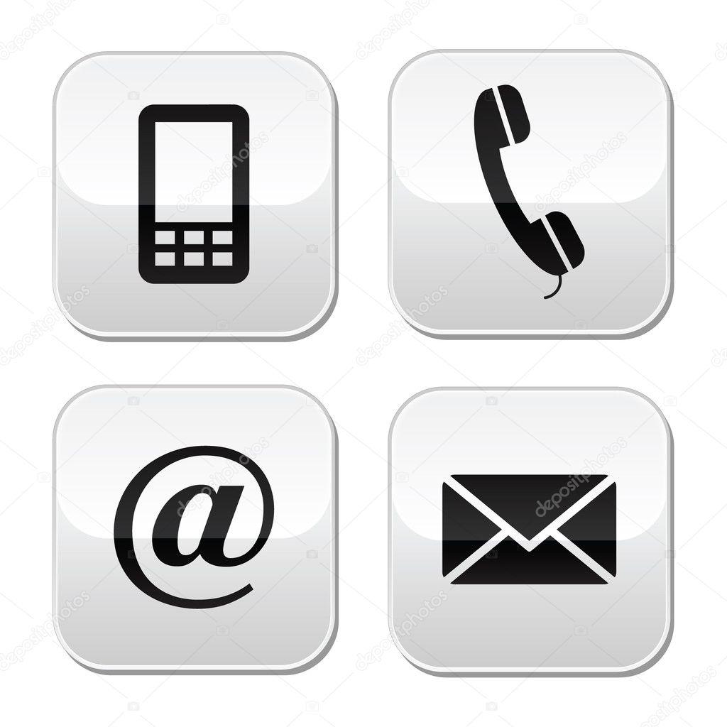 Conjunto de botones contacto iconos m viles tel fono for Telefono oficina de correos