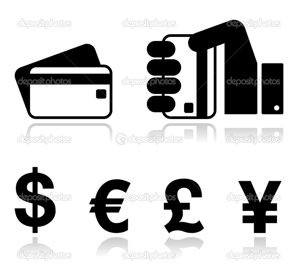 Payment methods icons set - credit card, by cash - currency.