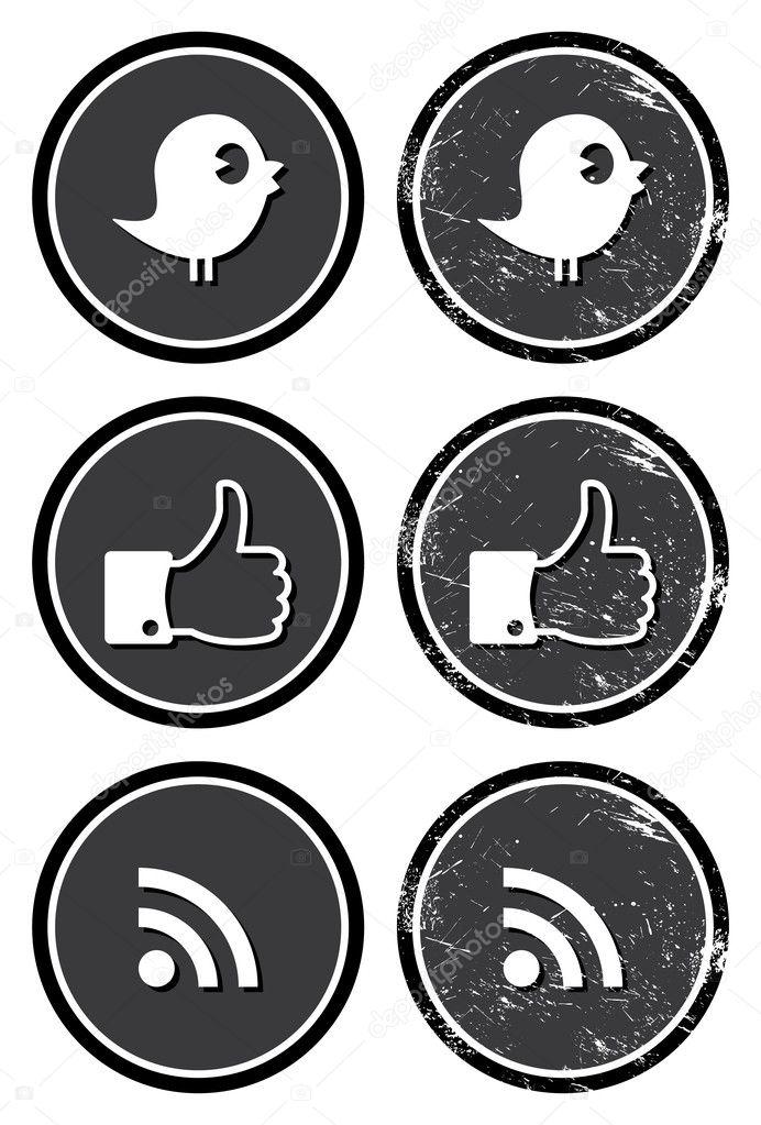 Social media retro labels - facebook, twitter, rss