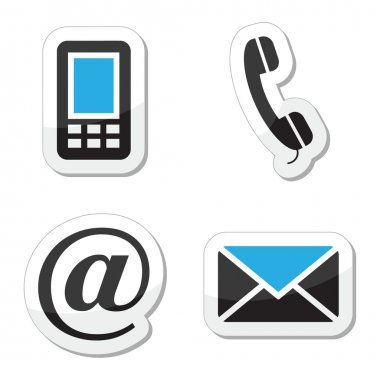 Buttons set styled as labels for Contact Us page. clip art vector