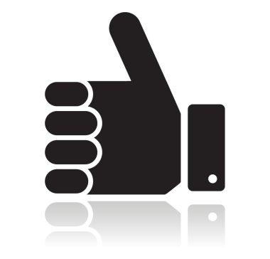 Thumb up black glossy icon
