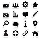 Fotografia menu di navigazione sito nero lucide icone - casa, ricerca, e-mail, galleria, aiuto, blog icone
