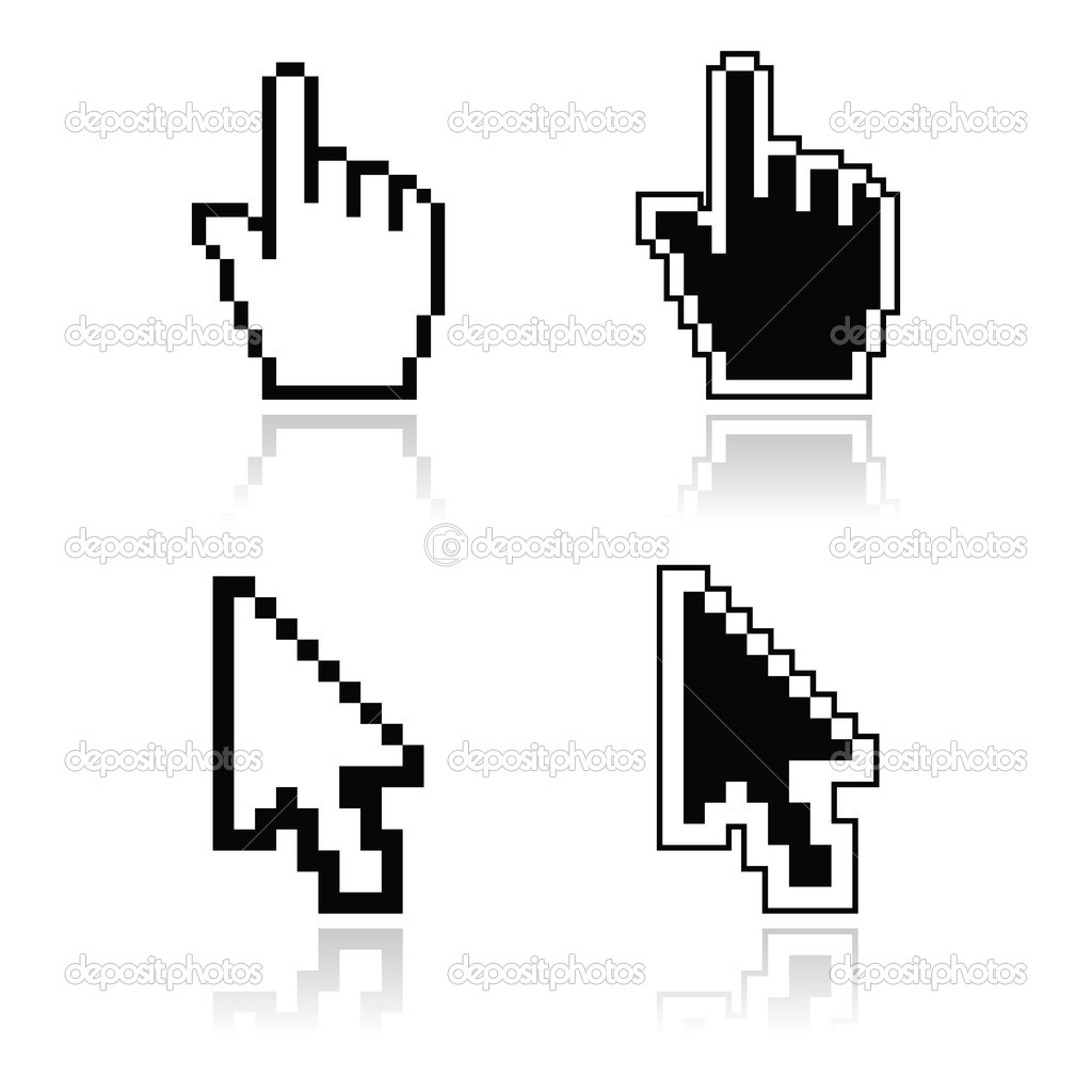 Pixel cursors black clean shiny icons - hand and arrow