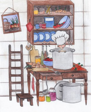 The child plays in kitchen