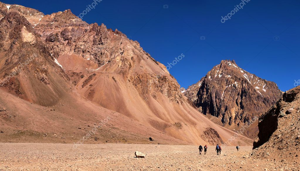 Hikers trekking in Andes in Aconcagua National Park, Argentina, South America