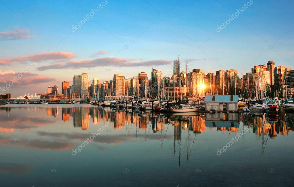 Vancouver skyline at sunset