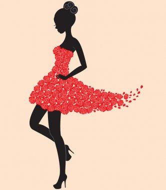 Dancer girl in dress of roses