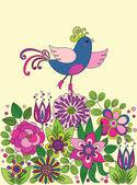 Fényképek Dekoratív, színes vicces madár a virágok