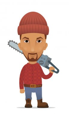 Cartoon lumberjack with a chainsaw