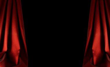 Red curtain background on dark