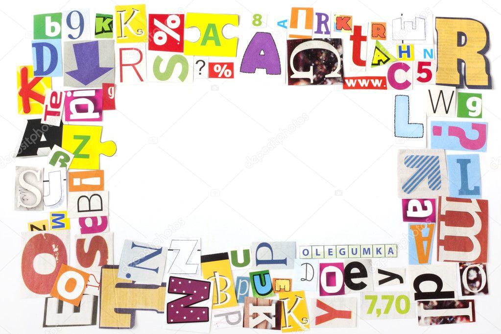 Newspaper letters artwork frame concept background — Stock Photo ...
