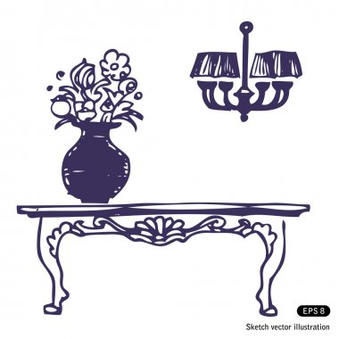 Vintage table, vase with flowers and chandelier