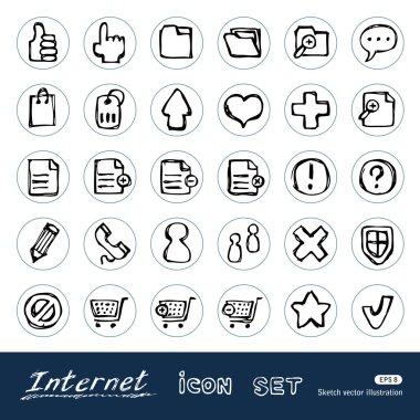 Doodle Internet web icons set