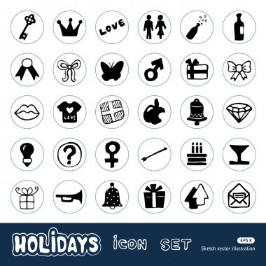 Holidays and celebration web icons set