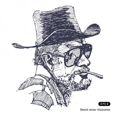 Man with hat, sunglasses and beard is smoking cigar