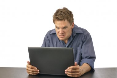 Man angry with computer
