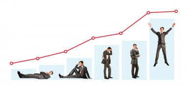 Creative photo of businessman in different moods under graph stock vector