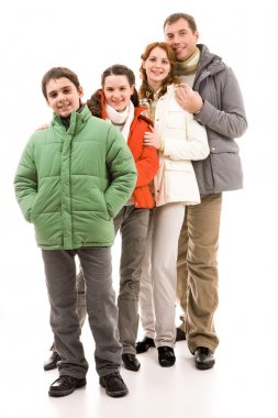 Happy family members in warm jackets over white background stock vector