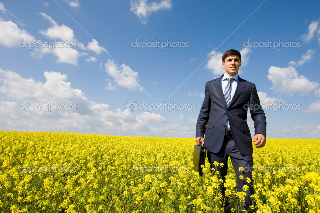 Man in meadow
