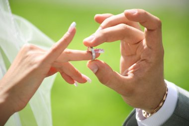 Grooms hand putting wedding ring on brides finger