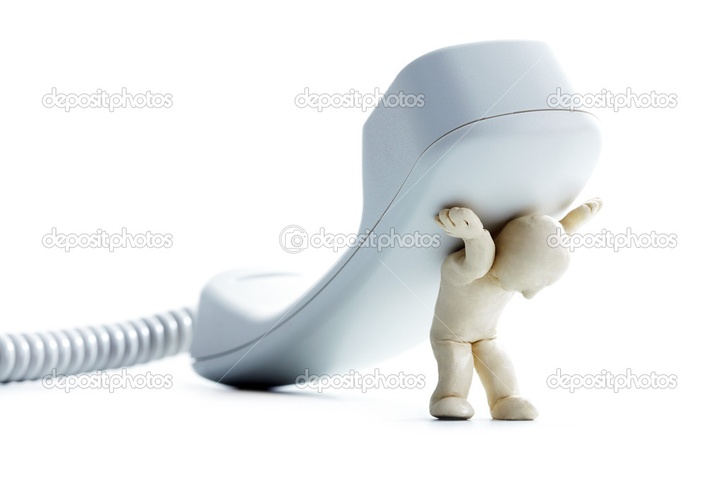 Photo of plasticine white man carrying telephone receiver