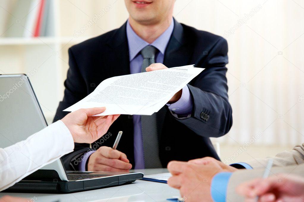 Handing over documents